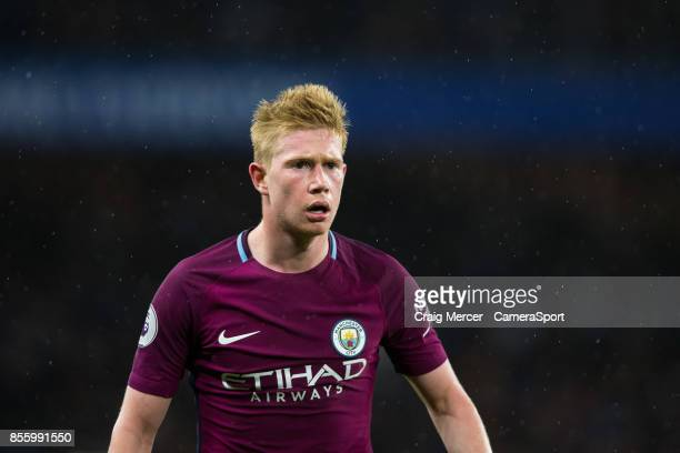 Manchester City's Kevin De Bruyne during the Premier League match between Chelsea and Manchester City at Stamford Bridge on September 30 2017 in...