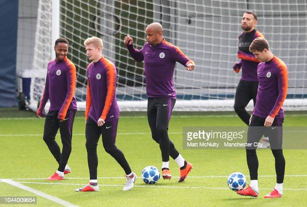 Manchester City's Kevin de Bruyne during training at Manchester City Football Academy on October 1 2018 in Manchester England