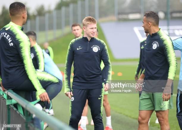 Manchester City's Kevin De Bruyne during training at Manchester City Football Academy on October 5 2018 in Manchester England