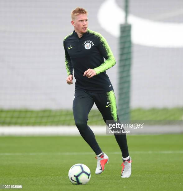 Manchester City's Kevin De Bruyne during training at Manchester City Football Academy on October 15 2018 in Manchester England