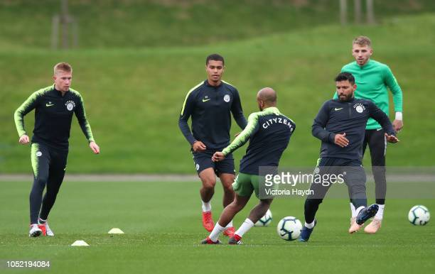 Manchester City's Kevin De Bruyne Fabian Delph Daniel Grimshaw Cameron Humphreys Grant and Sergio Aguero during training at Manchester City Football...