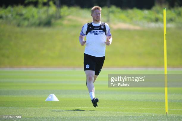 Manchester City's Kevin De Bruyne in action during training at Manchester City Football Academy on May 27 2020 in Manchester England