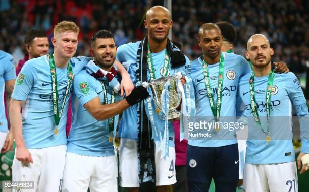 LR Manchester City's Kevin De Bruyne Manchester City's Sergio Aguero Manchester City's Vincent Kompany Manchester City's Fernandinho and Manchester...