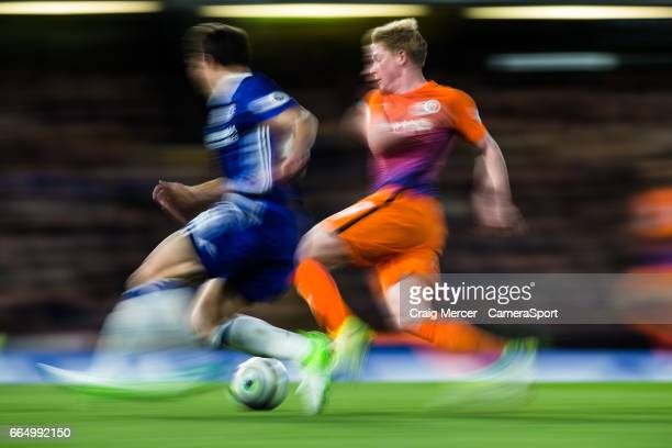 Manchester City's Kevin De Bruyne takes on Chelsea's Cesar Azpilicueta during the Premier League match between Chelsea and Manchester City at...