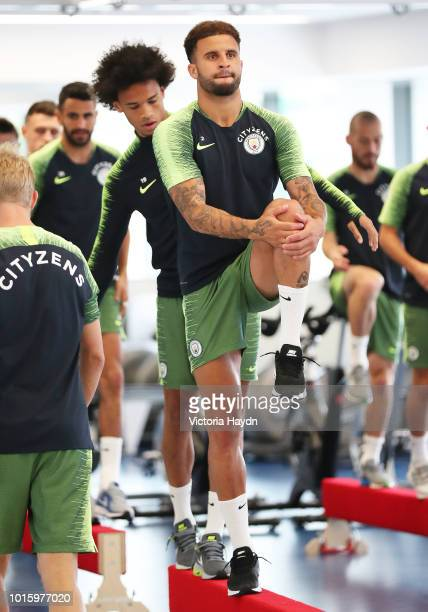 Manchester City's Kyle Walker and Leroy Sane train in the gym at Manchester City Football Academy on August 10 2018 in Manchester England