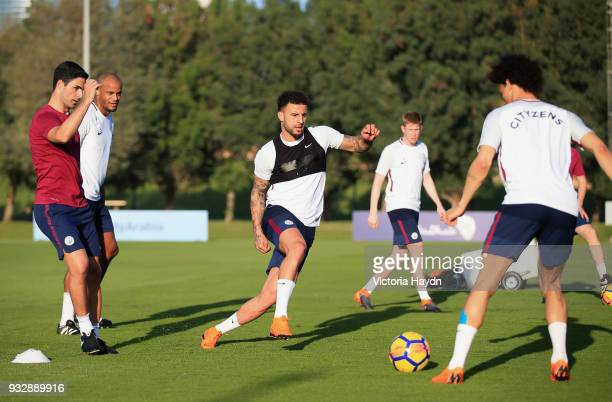 Manchester City's Kyle Walker during the training session on March 16 2018 in Abu Dhabi United Arab Emirates