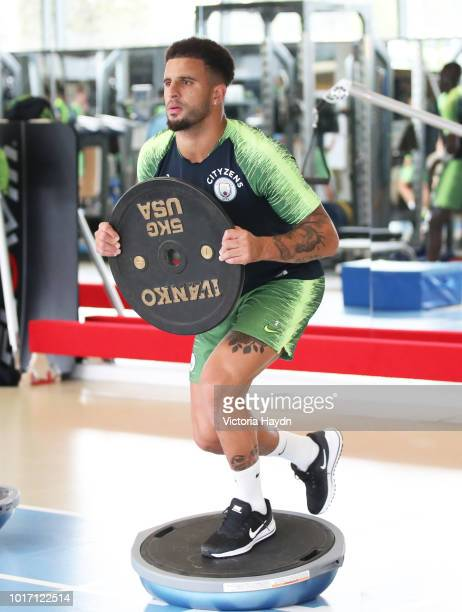 Manchester City's Kyle Walker during training in the gym at Manchester City Football Academy on August 15 2018 in Manchester England