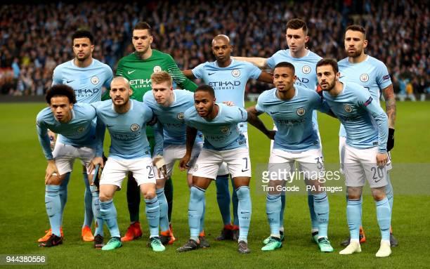 Manchester City's Kyle Walker Ederson Fernandinho Aymeric Laporte Nicolas Otamendi Leroy Sane David Silva Kevin De Bruyne Raheem Sterling Gabriel...