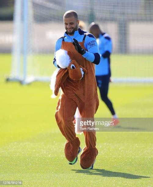Manchester City's Kyle Walker in action during training at Manchester City Football Academy on September 25 2020 in Manchester England