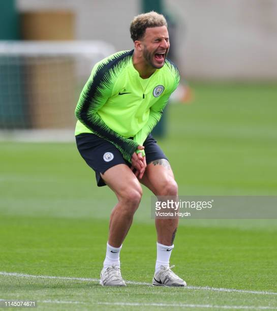 Manchester City's Kyle Walker reacts during training at Manchester City Football Academy on April 25 2019 in Manchester England