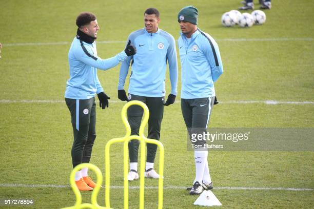 Manchester City's Kyle Walker Vincent Kompany and Lukas Nmecha in action during training at City Football Academy on February 12 2018 in Manchester...