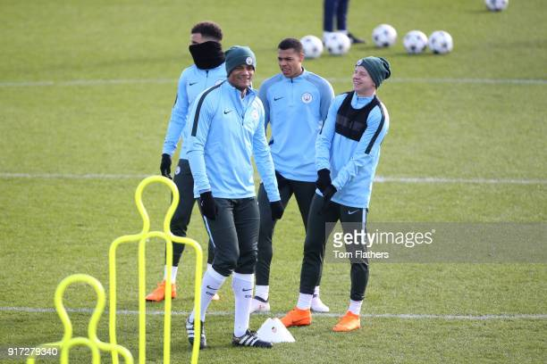 Manchester City's Kyle Walker Vincent Kompany Lukas Nmecha and Oleksandr Zinchenko in action during training at City Football Academy on February 12...