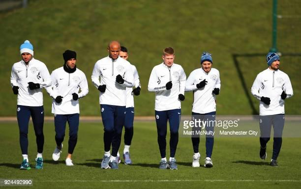 Manchester City's Kyle Walker Vincent Kompany Nicolas Otamendi Kevin de Bruyne David Silva and Ilkay Gundogan during the training session at...
