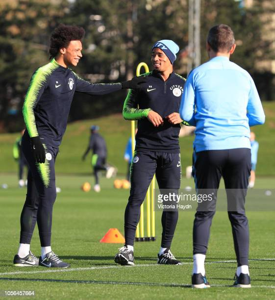 Manchester City's Leroy Sane and Gabriel Jesus laughing at Manchester City Football Academy on November 2, 2018 in Manchester, England.