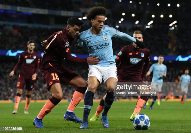 Manchester City's Leroy Sane and Hoffenheim's Nadiem Amiri battle for the ball during the UEFA Champions League match at The Etihad Stadium Manchester