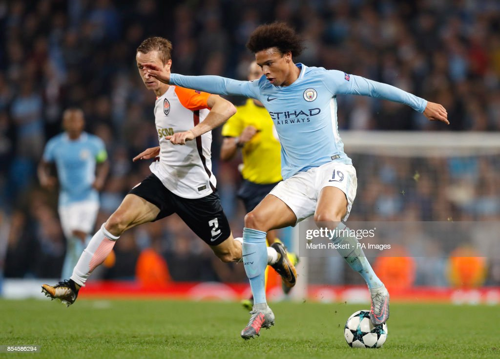 Manchester City's Leroy Sane (right) and Shakhtar Donetsk's Bohdan Butko battle for the ball during the UEFA Champions League, Group F match at the Etihad Stadium, Manchester. PRESS ASSOCIATION Photo. Picture date: Tuesday September 26, 2017. See PA story SOCCER Man City. Photo credit should read: Martin Rickett/PA Wire