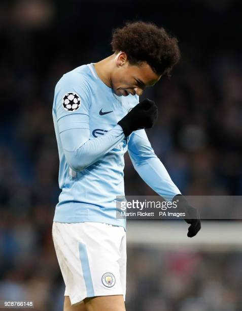 Manchester City's Leroy Sane appears dejected after the UEFA Champions League round of 16 second leg match at the Etihad Stadium Manchester