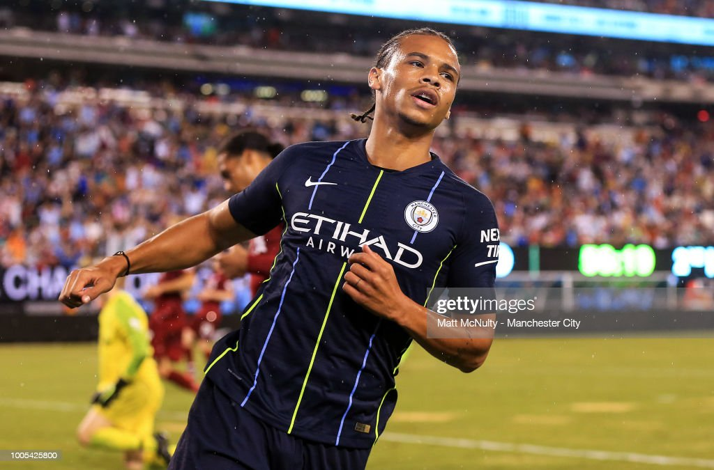 Manchester City's Leroy Sane celebrates after scoring the opening goal during the International Champions Cup match between Manchester City and Liverpool at the MetLife Stadium on July 25, 2018 in East Rutherford, New Jersey.