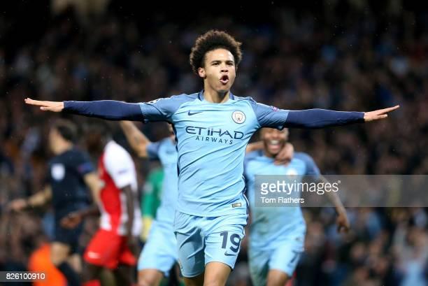 Manchester City's Leroy Sane celebrates scoring his team's fifth goal