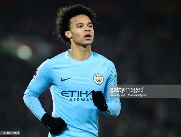 Manchester City's Leroy Sane during the Premier League match between Liverpool and Manchester City at Anfield on January 14 2018 in Liverpool England