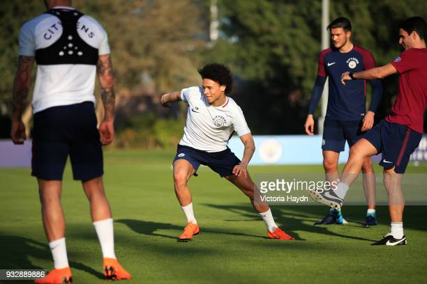 Manchester City's Leroy Sane during the training session on March 16 2018 in Abu Dhabi United Arab Emirates