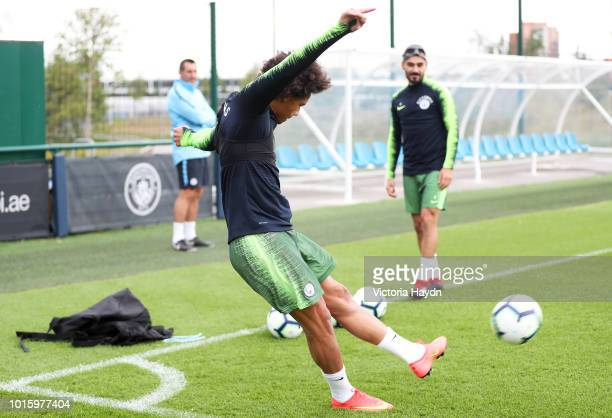 Manchester City's Leroy Sane during training at Manchester City Football Academy on August 10 2018 in Manchester England