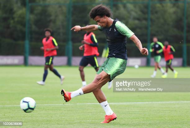 Manchester City's Leroy Sane during training at Manchester City Football Academy on August 20 2018 in Manchester England