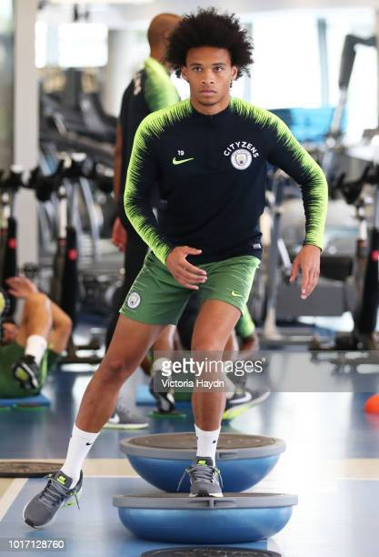 Manchester City's Leroy Sane during training in the gym at Manchester City Football Academy on August 15 2018 in Manchester England