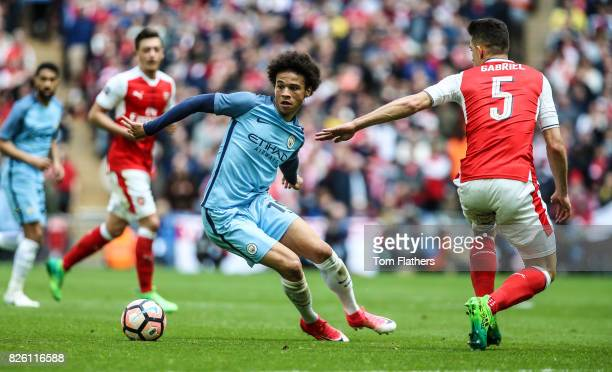 Manchester City's Leroy Sane in action against Arsenal in the FA Cup Semi Final