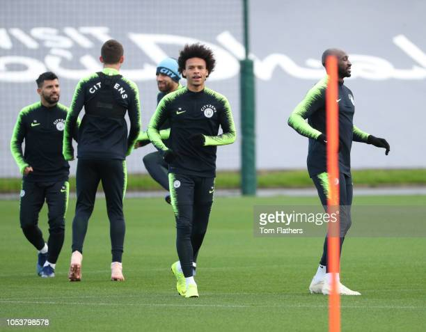 Manchester City's Leroy Sane in action during the training session at Manchester City Football Academy on October 26 2018 in Manchester England
