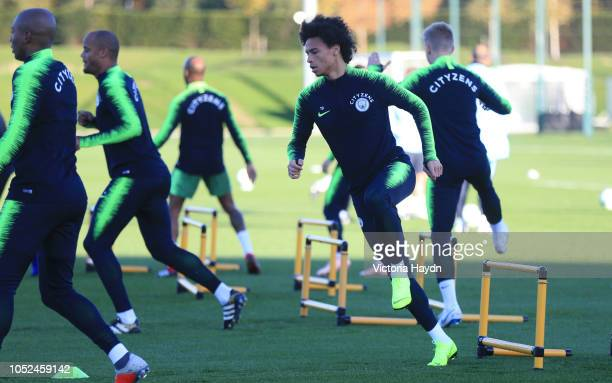 Manchester City's Leroy Sane in action during training at Manchester City Football Academy on October 18 2018 in Manchester England