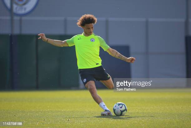 Manchester City's Leroy Sane in action during training at Manchester City Football Academy on April 19 2019 in Manchester England