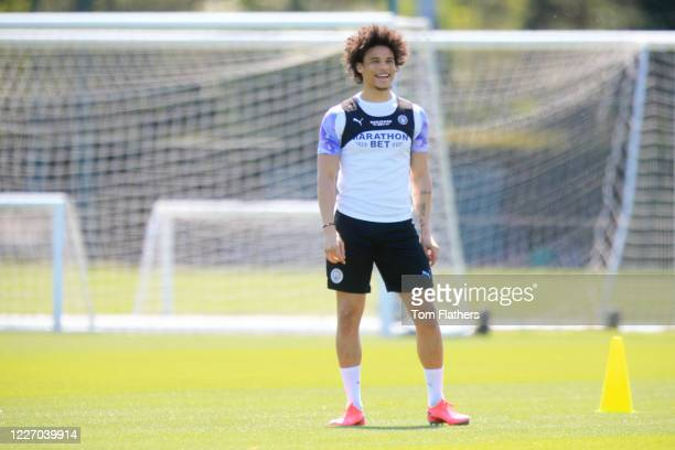Manchester City's Leroy Sane in action during training at Manchester City Football Academy on May 25 2020 in Manchester England