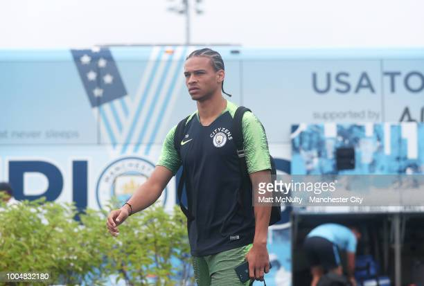 Manchester City's Leroy Sane in action during training at New York City FC's training facility on July 23 2018 in New York City