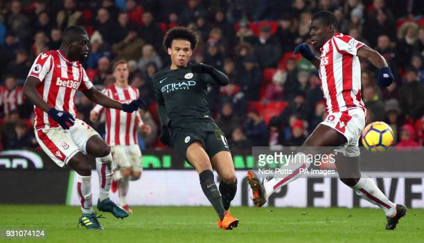 Manchester City's Leroy Sane shoots at goal during the Premier League match at the bet365 Stadium Stoke