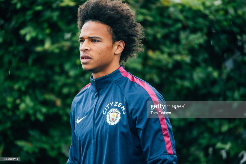 Manchester City's Leroy Sane walks to training at Manchester City Football Academy on September 7, 2017 in Manchester, England.