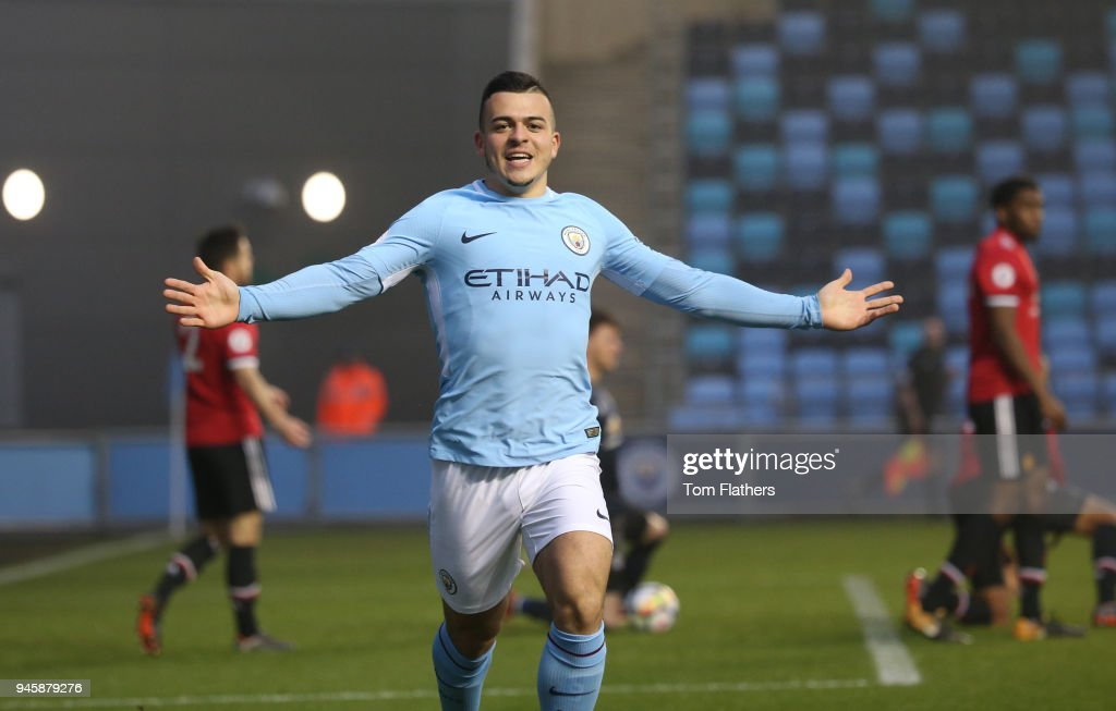 Manchester City's Lorenzo Gonzalez celebrates scoring to make it 1-0 during the Premier League 2 match between Manchester City and Manchester United at Academy Stadium Stadium on April 13, 2018 in Manchester, England.
