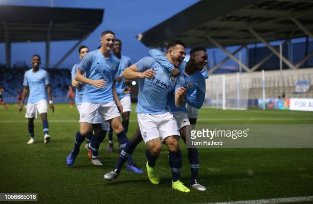 Manchester City's Lorenzo Gonzalez celebrates scoring to make it 31 during the UEFA Youth League match between Manchester City and Shakhtar Donetsk...