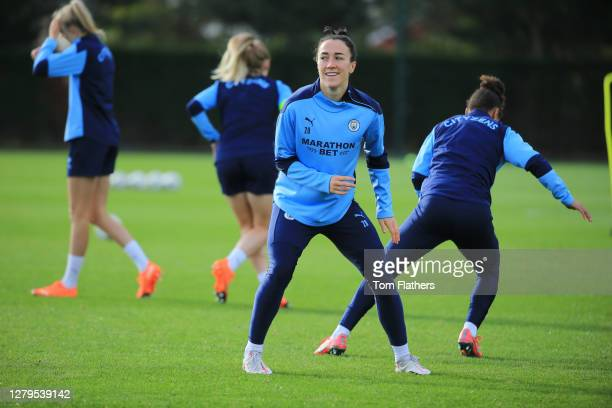 Manchester City's Lucy Bronze in action during training at Manchester City Football Academy on October 09, 2020 in Manchester, England.