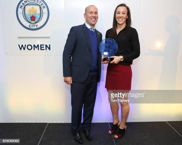 Manchester City's Lucy Bronze wins the Etihad Airways Player of the Season Award at The Manchester City Women End of Season Awards