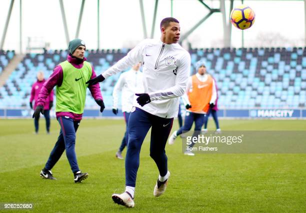 Manchester City's Lukas Nmecha and teammates during training at Manchester City Football Academy on March 2 2018 in Manchester England