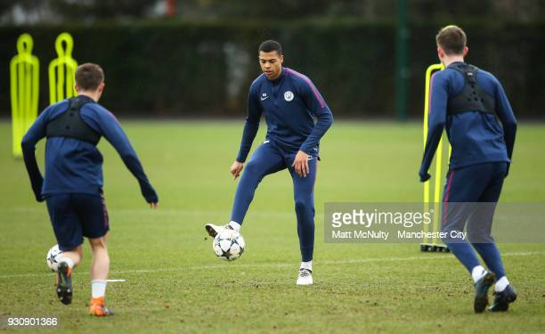 Manchester City's Lukas Nmecha and teammates during training at Manchester City Football Academy on March 12 2018 in Manchester England