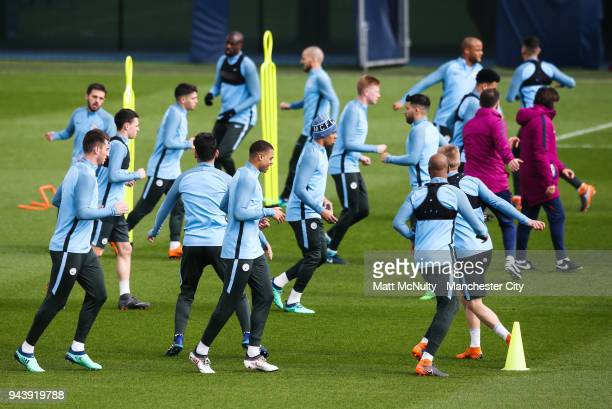 Manchester City's Lukas Nmecha and teammates during training at Manchester City Football Academy on April 9 2018 in Manchester England