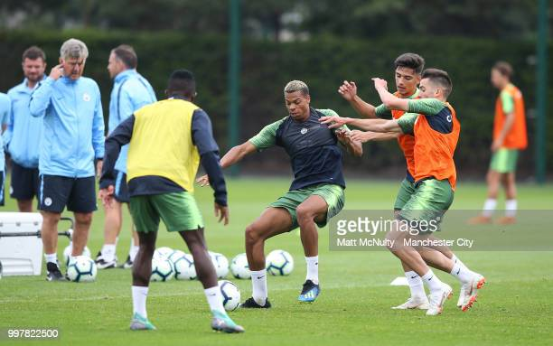 Manchester City's Lukas Nmecha and teammates during training at Manchester City Football Academy on July 13 2018 in Manchester England