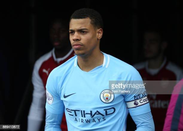 Manchester City's Lukas Nmecha before the Premier League 2 match between Manchester City EDS and Arsenal U23 at Academy Stadium on December 10 2017...