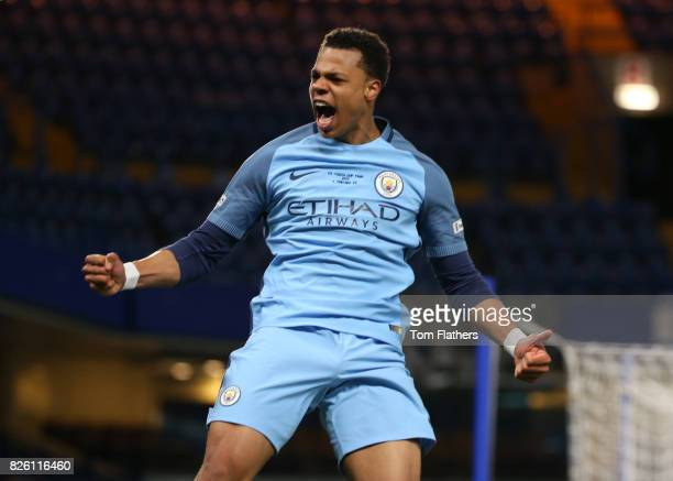 Manchester City's Lukas Nmecha celebrates scoring in the FA Youth Cup Final against Chelsea A78Q8749jpg