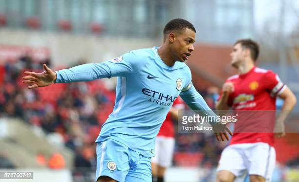 Manchester City's Lukas Nmecha celebrates scoring to make it 11 during the Premier League 2 match between Manchester United v Manchester City at...