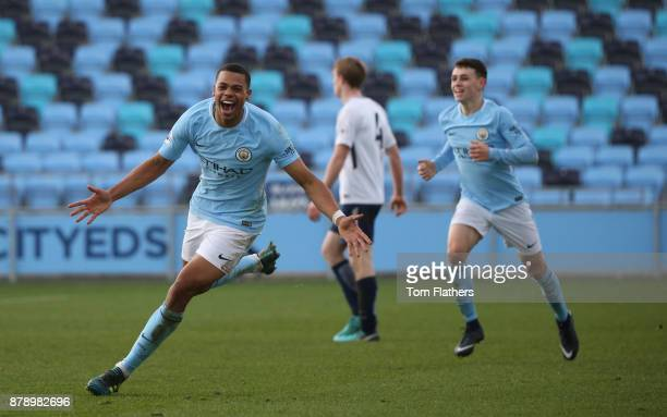 Manchester City's Lukas Nmecha celebrates scoring to make it 32 during the Premier League 2 match between Manchester City and Tottenham Hotspur at...