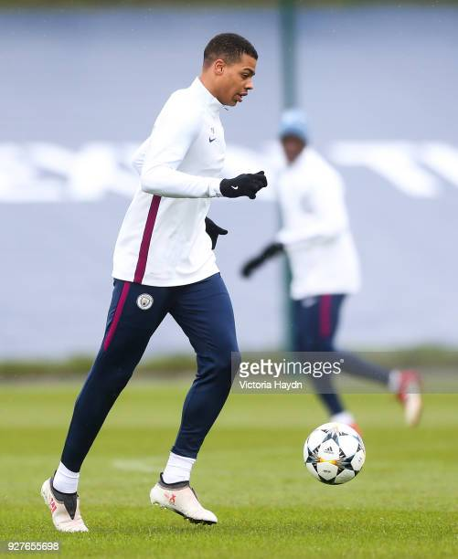 Manchester City's Lukas Nmecha during the training session at Manchester City Football Academy on March 5 2018 in Manchester England