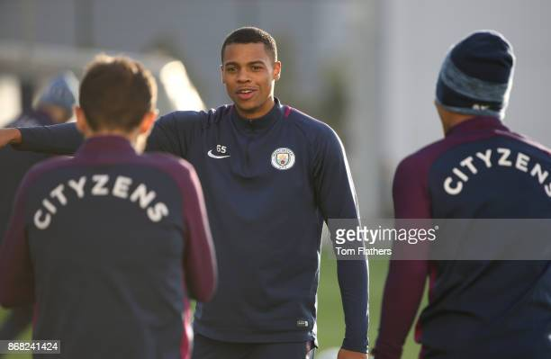 Manchester City's Lukas Nmecha during training at Manchester City Football Academy on October 30 2017 in Manchester England